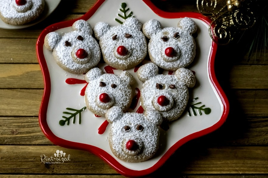 Polar bear cookies on serving tray