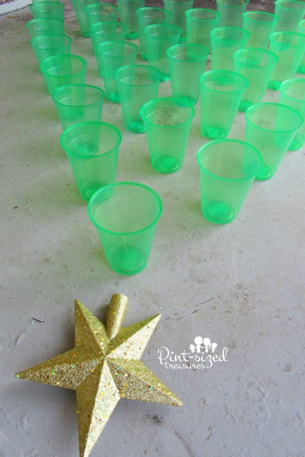 Christmas tree toss game for preschoolers