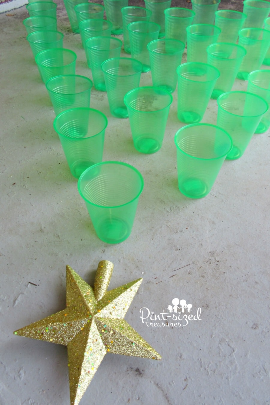 Christmas tree toss game for preschoolers