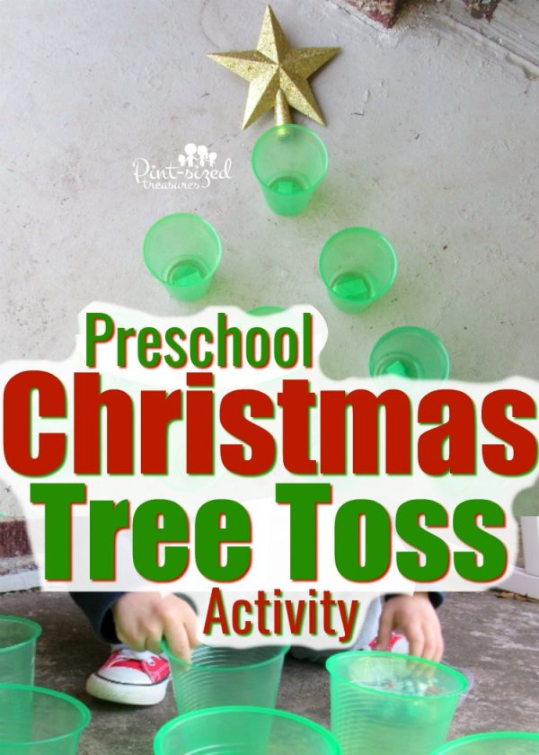 Preschoolers love this super simple Christmas tree toss activity that uses cups and Hershey kisses! Keep Christmas super fun and simple with this preschool activity! 3Christmasgames #preachoolactivity #Christmas #Christmaspreschool #Christmasactivities #Preschoolideas #gamesforpreschoolers #Christmasgames #hersheyskiss #gamesforkids