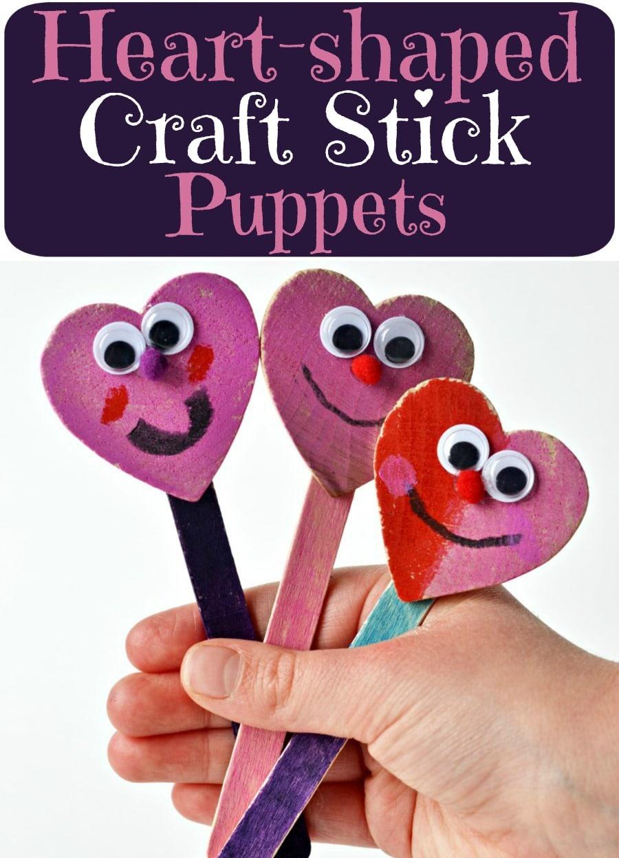 Valentine's Day craft stick puppets