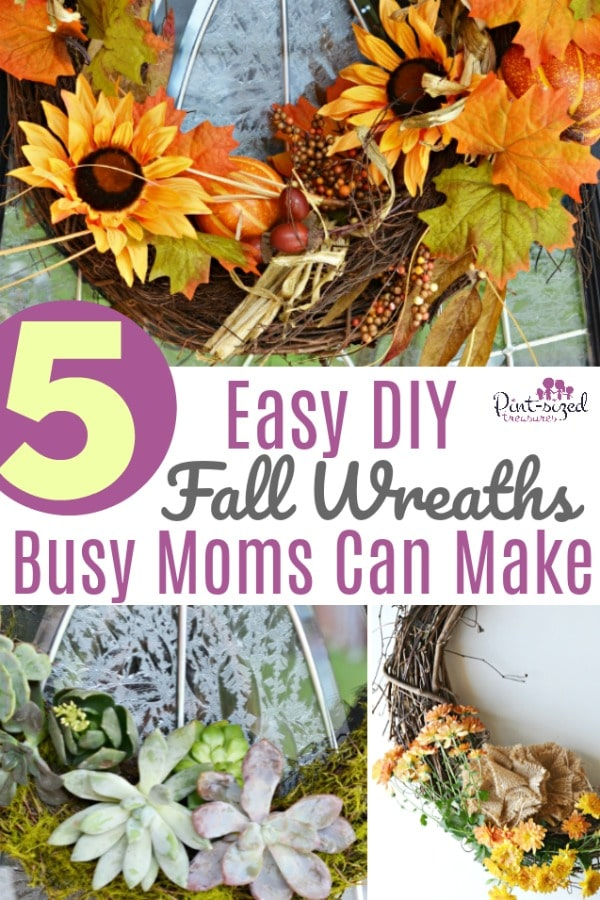 Five EASY DIY Fall Wreaths that busy moms can actually make and will LOVE! Just a few simple tweaks here and there and busy moms will have gorgeous, fall wreaths that are ready to display!