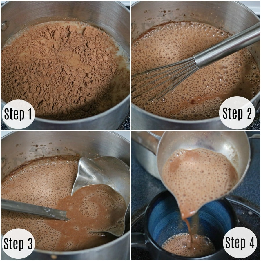 Creating minty, coconut hot chocolate in four easy steps.