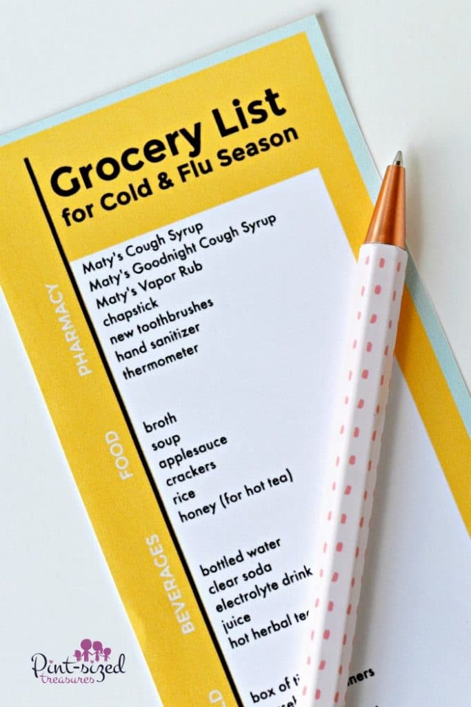 Printable Grocery List that every mom should have during cold and flu season. Life just got easier!