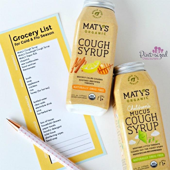 printable grocery list for cold and flu season