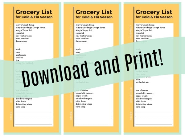 Printable Grocery List Every Mom Should Have During Cold And Flu