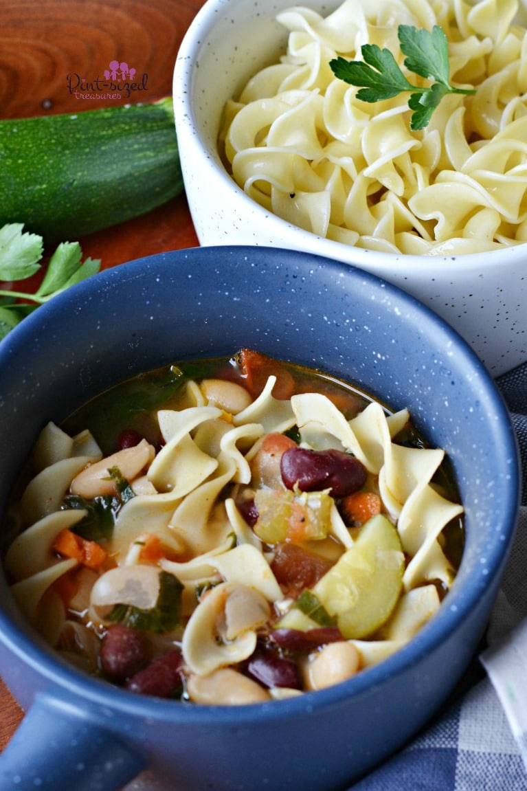 A simple, hearty, vegetable minestrone soup recipe that speaks to a comfort foodie's soul!