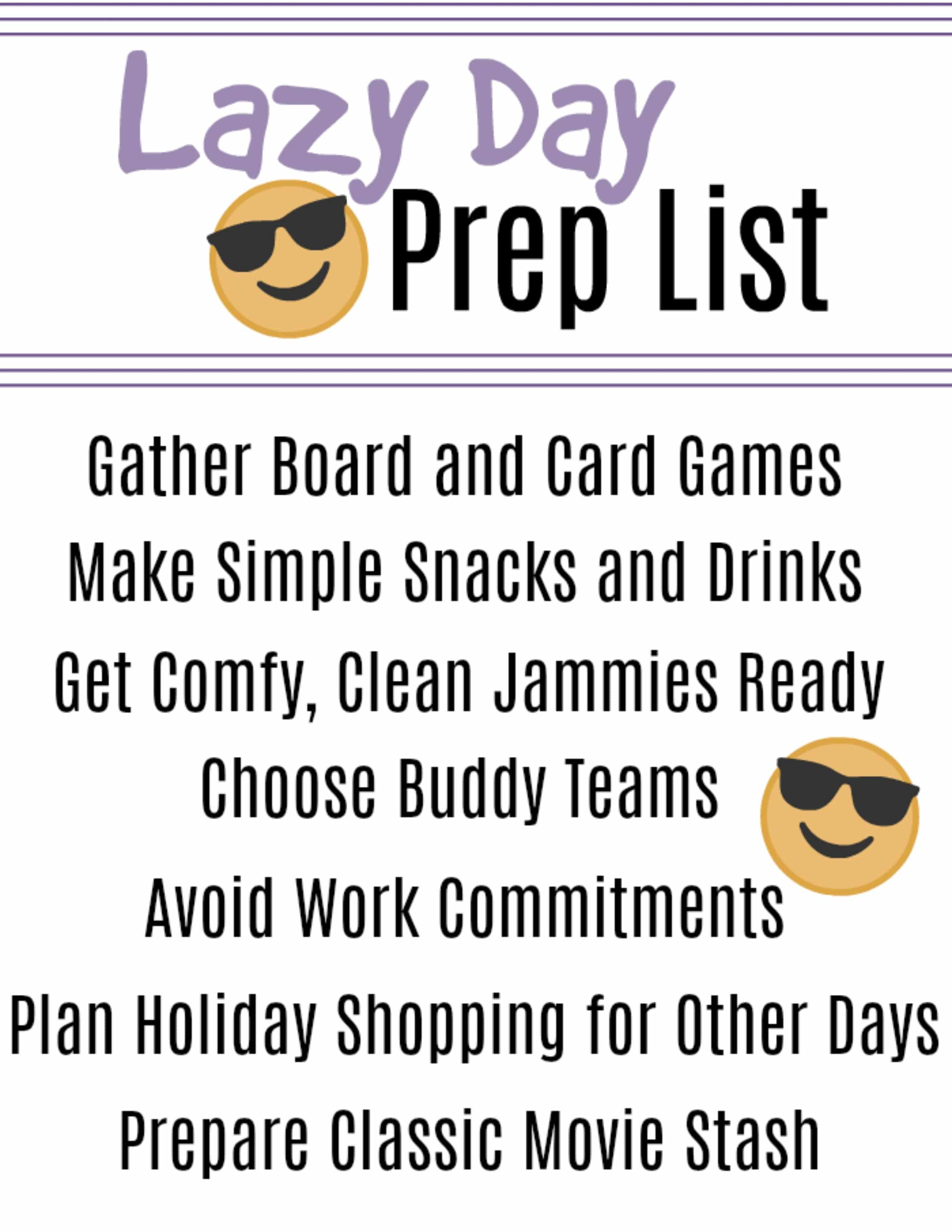 lazy day prep printable
