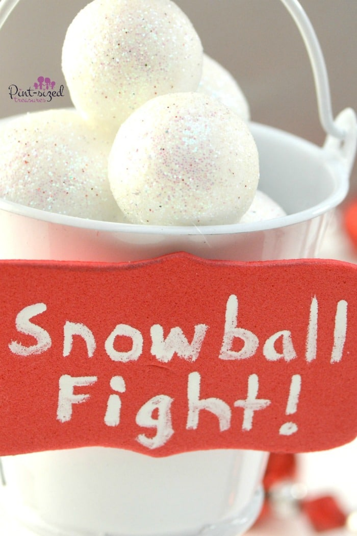 Super simple snowball fight Christmas ornaments parents and kids can make together!