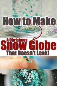 Want to know how to make a Christmas Snow globe that doesn't leak? You'll love this simple, DIY Christmas snow globe that's super simple and looks vibrant, bright and cheery for years of Christmas snow globe fun! #Christmascraft #snowglobe #DIYChristmas #Christmasdecor #homemadeChristmas #easysnowglobe #DIYcrafts #easyChristmascraft #Christmaskidcrafts #craftsforkids