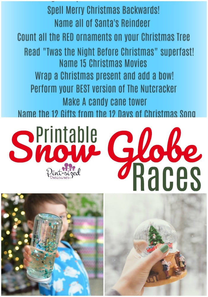 printable snow globe races for families