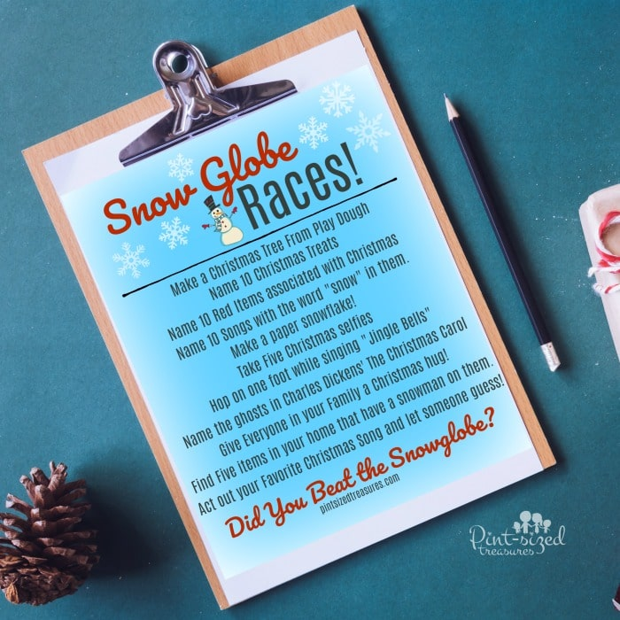printable snow globe races