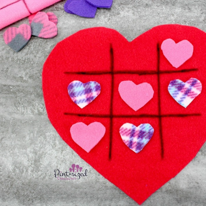 diy felt heart tic tac toe game