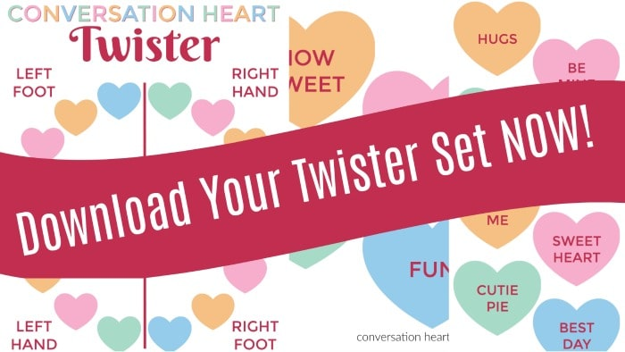 Conversation hearts Twister printable set for Valentine's Day