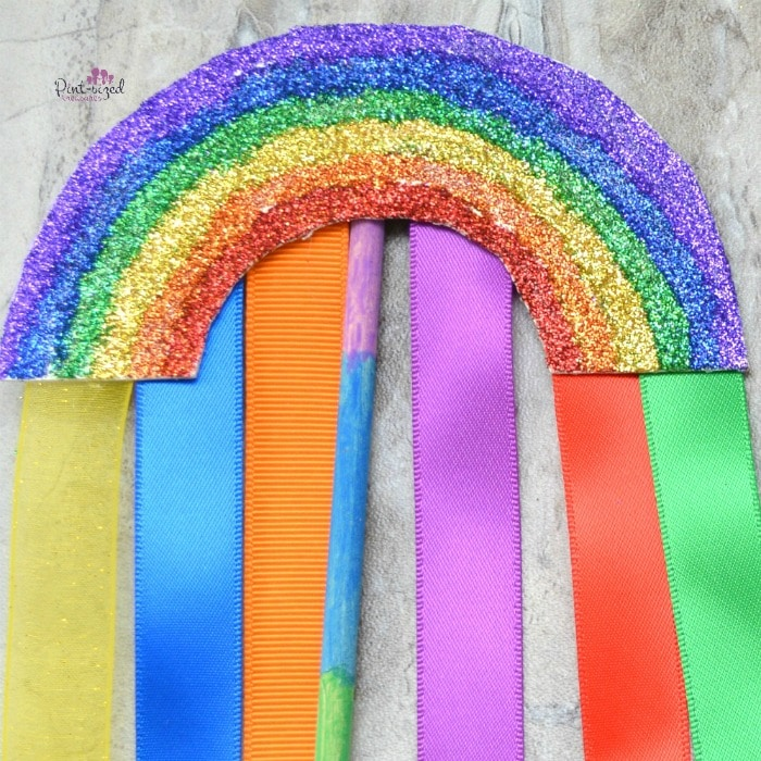 ribbons hanging from the rainbow wand