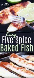 Easy, five-spiced, baked fish is absolutely delicious! It's ready in just minutes and is packed full of fresh flavors and spices! #bakedfishrecipe #easybakedfish #fishrecipes #easymealidea #easydinner #quickandeasymeal #bakedfishmeal #20minutemeals #familyrecipes