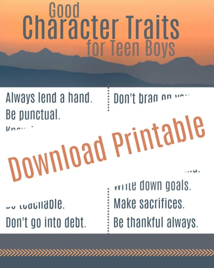 printable for good character traits for teen boys