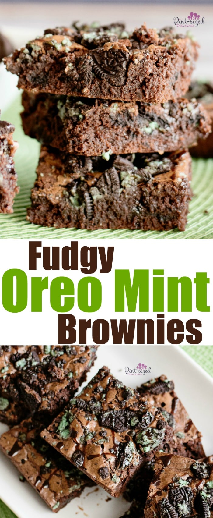 These are my favorite Oreo Mint Brownies because they're crazy fudgy and have a fun, cookie crunch! The mint flavor pairs perfect with the rich chocolate!  #Oreomintbrownies #chocolatemintbrownies #brownierecipe #oreobrownies #mintOreobrownies #Fudgybrownies #easybrownies #bestbrownierecipe #chocolatemintoreobrownies