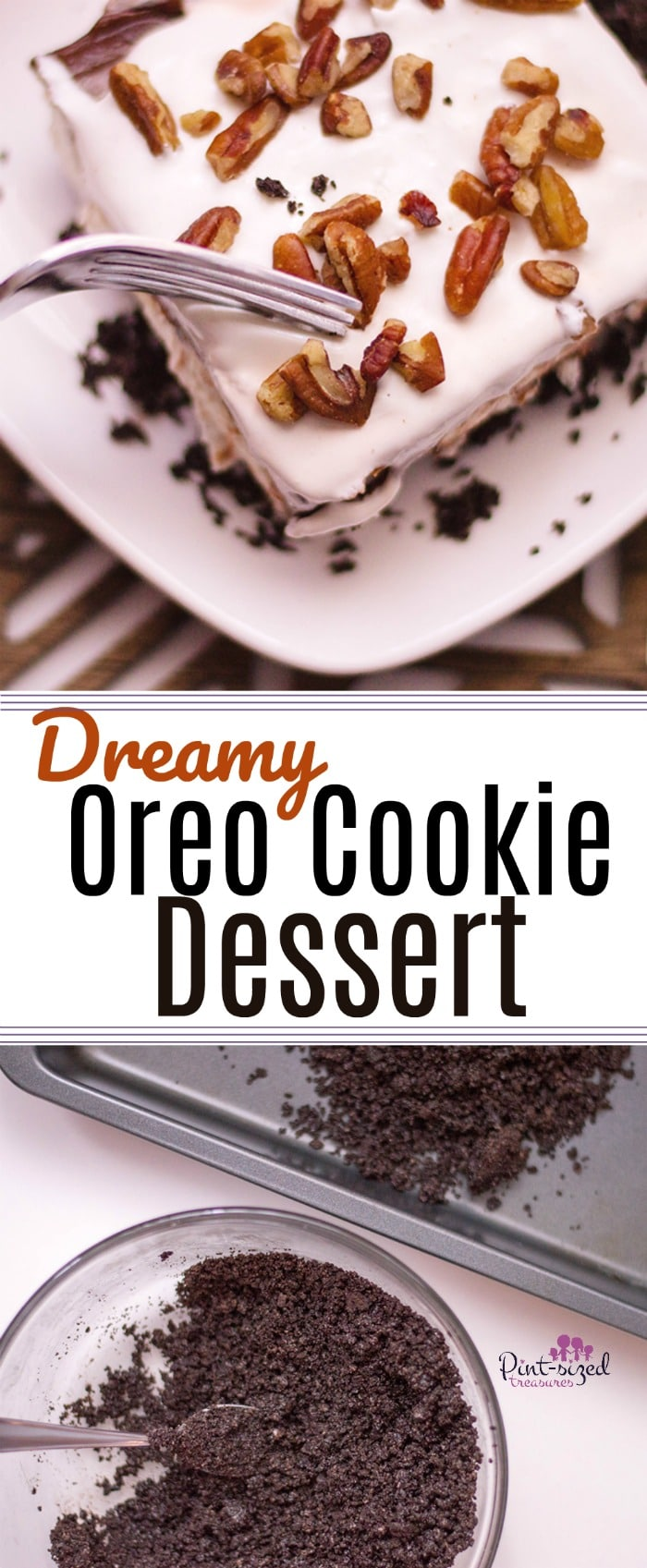 This dreamy, Oreo Cookie dessert is one of our family's absolutely favorites! There is no whipped topping in this recipe --- only homemade whipped cream will do! Crumbled, buttery Oreo cookies and layers of pudding and cream cheese, create a gorgeous, easy dessert that's topped with crunchy, toasted walnuts! Enjoy! #easyrecipes #Oreodesserts #oreodessert #Chocolatedessert #easychocolatedessert #nobakedessert #nobakeOreodessert #nobakechocolatedessert #quickandeasydessert #Oreodelight #Oreolasagna