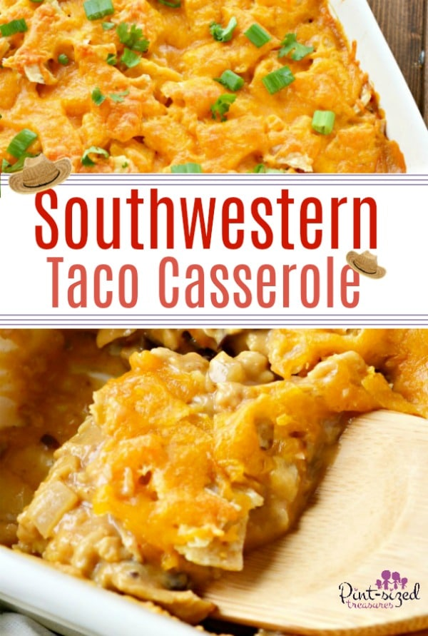 A southwestern taco casserole that's made with fresh spices --- nothing canned! Love how easy this casserole is to toss together for an easy, weeknight dinner! All Southwestern foodie fans will love this recipe! #southwesterncasserole #comfortfood #easycasserole #tacocasserole #easytacocasserole #easymealideas #easydinner #easyweeknightdinner #easytacorecipe