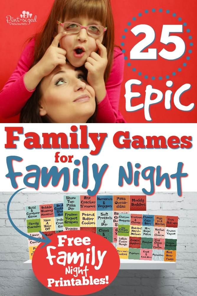 Oh my grief! These are the BEST animist EPIC family games for family night! There's even some free printables to help kids pick a game AND a snack! So fun! #parenting #familygames #gamesforfamiles #familynightfun #familynights #funstuffforkids #pretendplay #bestgames #funnygames #partygames#creativegames