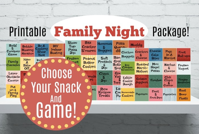 Family night printables with games and snack ideas