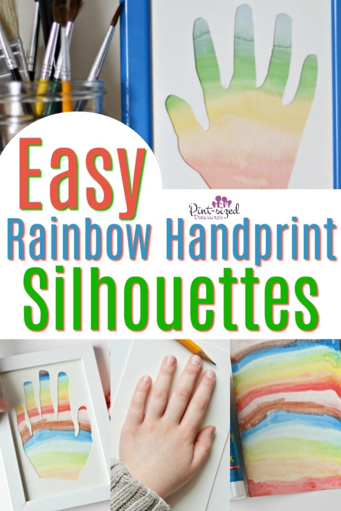 easy rainbow handprint silhouettes is the perfect craft to capture those tiny hands! Craft this beautiful masterpiece with your kids --- especially toddlers and preschoolers! #easycraft #handprints #handprintcraft #craftsfortoddlers #craftsforpreschoolers #rainbowcrafts #silhouettes #handprintsilhouettes #kidsilhouettes #easysilhouettes #diysilhouettes