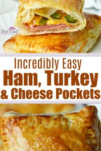 Ham, turkey and cheese pockets are asimpleway to have comfort food ready at all times! Great for a hearty meal OR snack! #hamandcheese #hamturkeyandcheese #homemadepockets #hotpockets #homemade #homemadehamandcheee #recipeswithpuffed pastry #easylunch #easydinner #easymeal