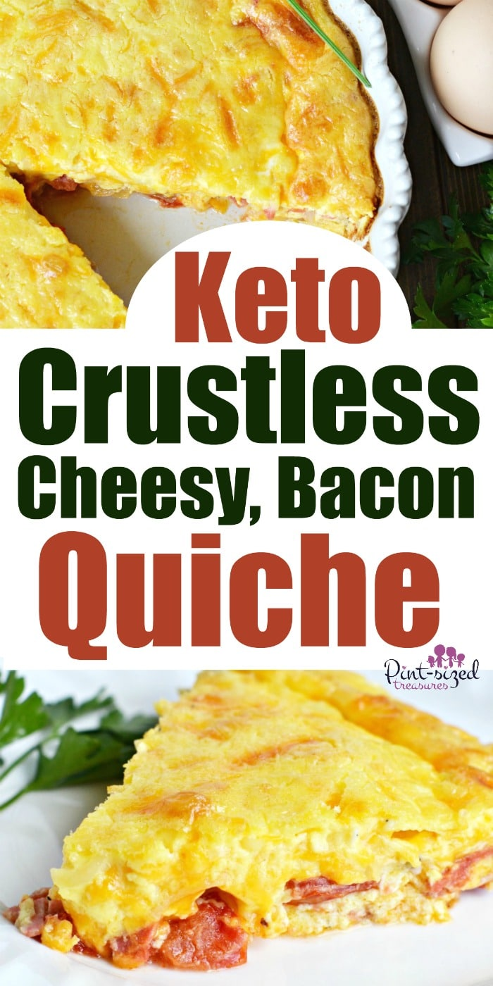 The Keto diet just got better with this Keto-friendly cheesy, bacon quiche! It's packed with sautéed onions, tomatoes, and of course --- BACON! Perfect breakfast for busy people who LOVE quiche but don't have time to make a crust! #easybreakfast #ketorecipe #easyketobreakfast #easyquiche #crustlessquiche #bestquicherecipe #baconrecipes #bacon #Baoncandeggs #baoncquiche #crustlessquiche #breakfastdish #breakfast