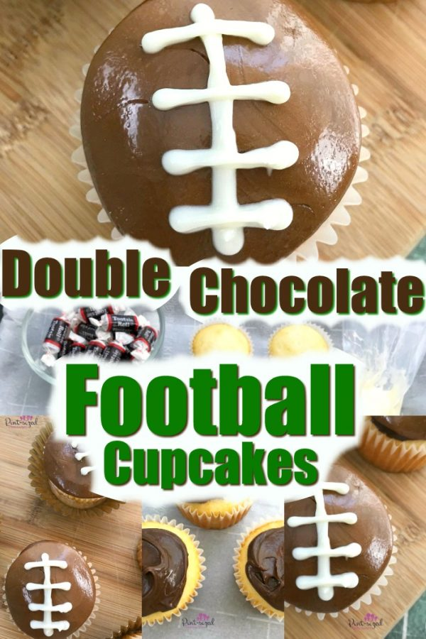 Easy double chocolate football cupcakes are perfect for the football fanatic in your life! Great for parties or game night. Incredibly yummy! #football #footballcupcakes #footballsnacks #footballtreats #footballseason #familyfootball #Footballparty #tailgaiting #footballdessert #chocolatedessert #chocolatecupcake #footballcake