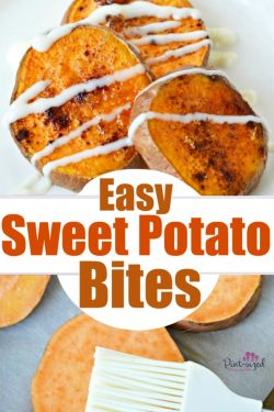 Easy sweet potato bites are the perfect appetizer or snack that's ready in minutes! Sliced, sweet potatoes are roasted and sprinkled with butter and cinnamon and topped with a buttery spread! #easyrecipe #EasySqueezy #ad #sweetpotato #appetizers #sweetpotatobites #slicedpotatoes #easyappetizer
