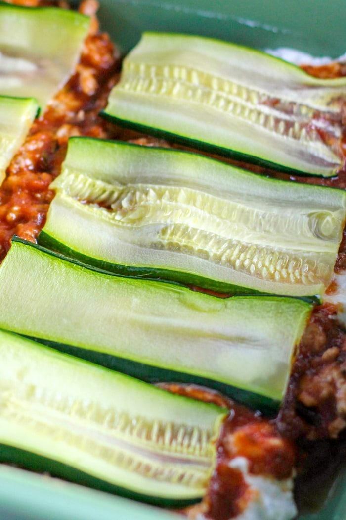 layering the keto lasagna