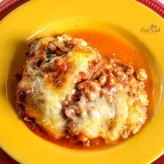 close up of easy Keto Zucchini lasagna