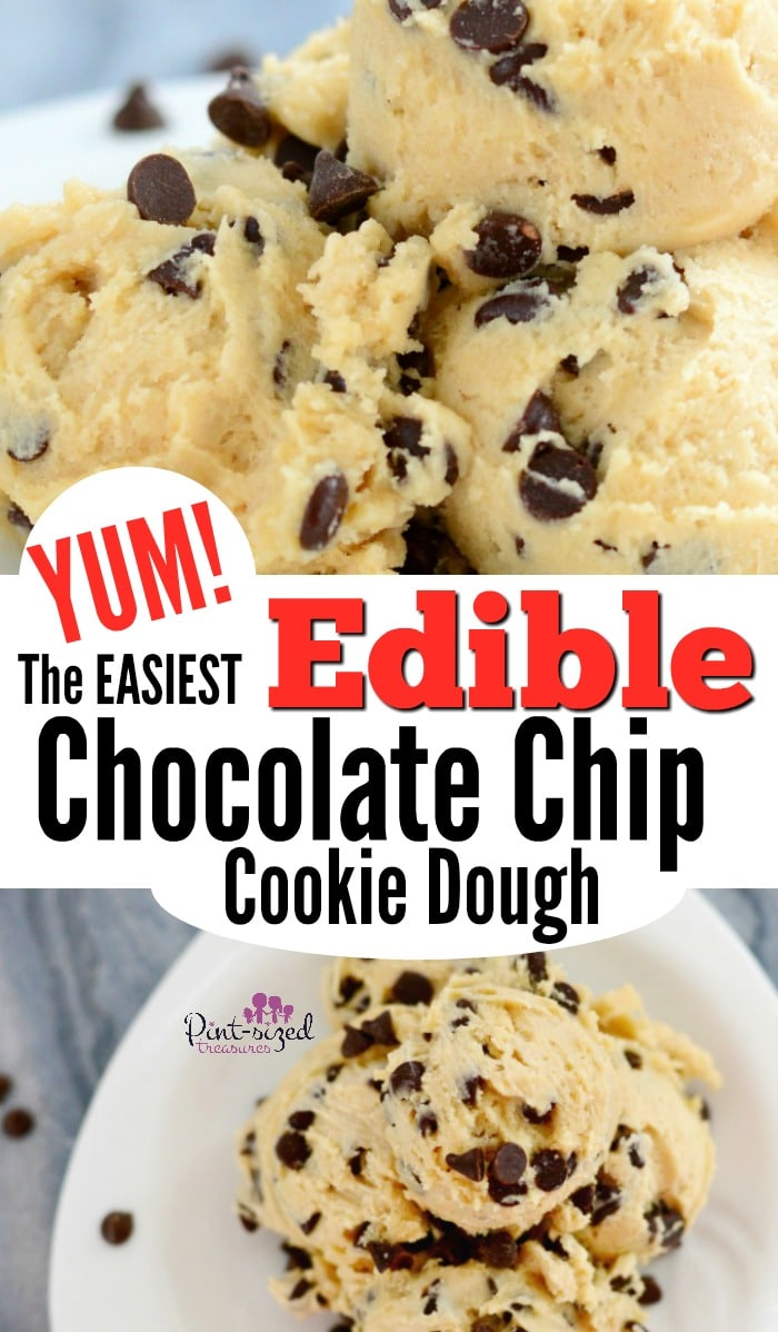 The EASIEST and YUMMIEST edible chocolate chip cookie dough. I dare you to only eat one serving! #easycookiedough #ediblecookiedough #cookiedough #easydessertrecipe #easycookiecoughrecipe #ediblecookiedoughrecipe #cookiedoughdessert #bestcookiedough #bestdessert #eggfreecookiedough