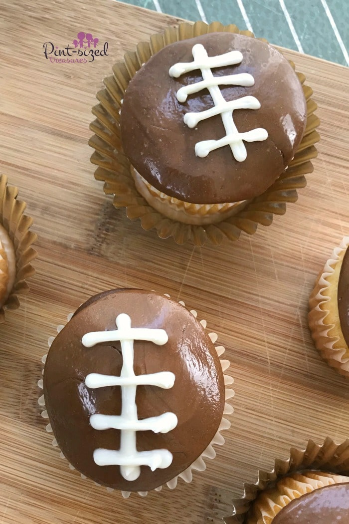Easy double chocolate football cupcakes