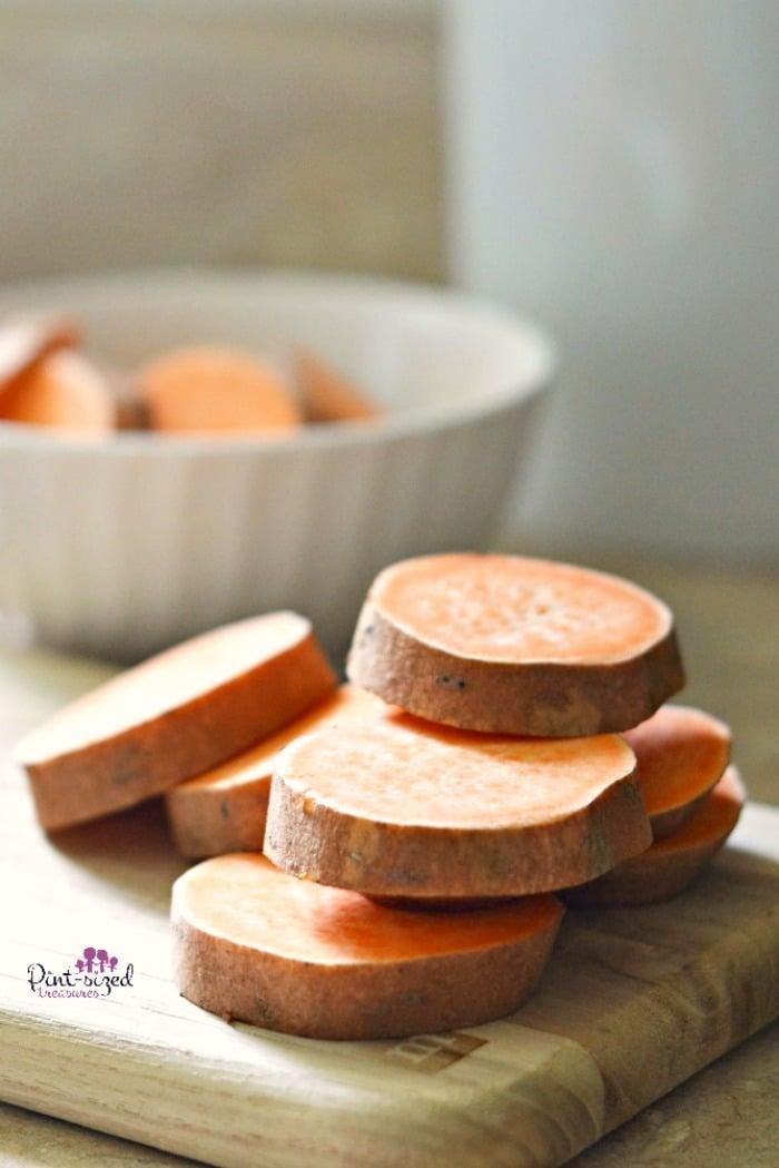 sliced sweet potatoes for potato bite recipe