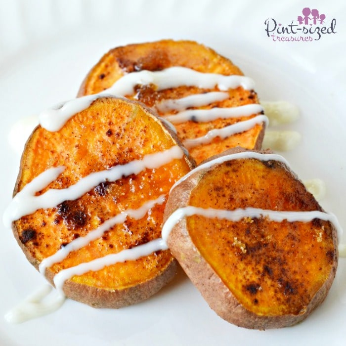 Baked sweet potato bites with drizzles of buttery spread, sugar and cinnamon #sweetpotatoes #easyrecipe #easyappetiizers #EasySqueezy #ad  #bakedpotatoes