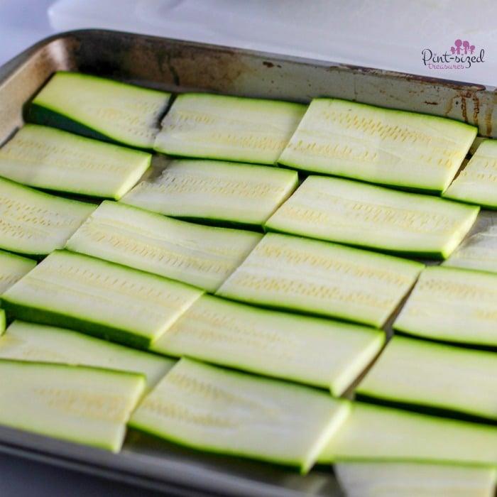baking the zucchini for the keto lasagna