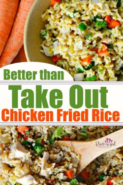 Oh yes! This chicken fried rice is DEFINITELY better than take out and cray easy! Who knew the secret to making perfect fried rice was so simple? Chicken fried rice is perfect for a simple, crazy-yummy meal that's packed with veggies! #chickenfriedrice #friedrice #easyfriedrice #ricerecipes #chickenrecipes #easydinner #easyfamilyrecipes #easymeals #Asianrecipes #chickenandrice