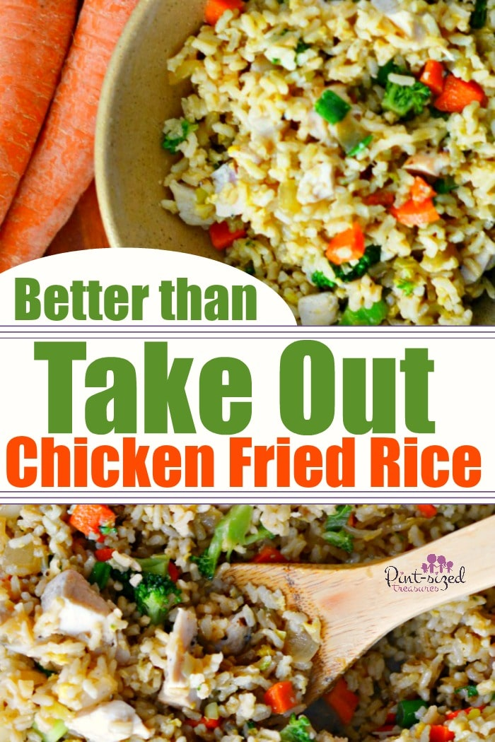 Oh yes! This chicken fried rice is DEFINITELY better than take out and crazy easy! Who knew the secret to making perfect fried rice was so simple? Chicken fried rice is perfect for a simple, crazy-yummy meal that's packed with veggies! #chickenfriedrice #friedrice #easyfriedrice #ricerecipes #chickenrecipes #easydinner #easyfamilyrecipes #easymeals #Asianrecipes #chickenandrice