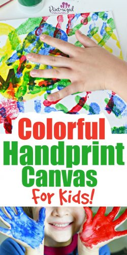 Easy colorful handprint canvases for kids are super fun to make! A great way to keep your child's little handprints saved and displayed! #ad #handprintart #Handprintcanvas #diycanvas #handprintdiy #handprintcraft #craftsforkids #handprintcraftsforkids