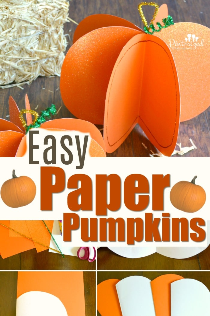 Love easy crafts! This paper pumpkin craft is incredibly simple, but super-cute! Just a few materials and you'll have loads of paper pumpkins in your house or classroom! #paperpumpkins #Pumpkincraft #easycrafts #easypumpkincrafts #Pumpkinactivity #craftsforkids #easypumpkincraftsforkids