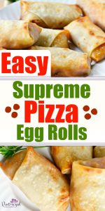 Easy supreme pizza egg rolls are perfect for tailgating during college football season! These egg rolls are packed with your favorite pizza flavors, bacon, hamburger, and loads of cheese! Dig into this pizza favorite today! #ad #pizza #easypizza #eggrolls #pizzaaeggrolls #tailgating #partyfood #appetizers #easyappetizers #pizzarolls