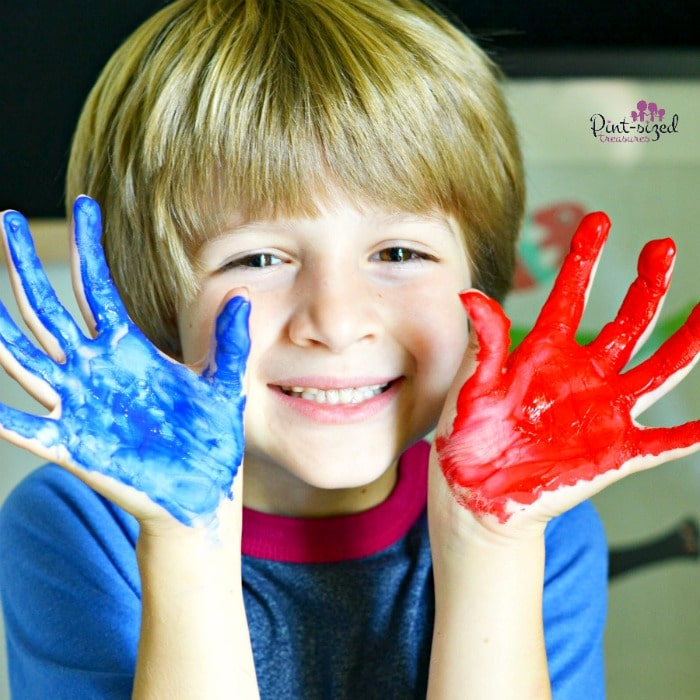 DIY handprint canvas for kids