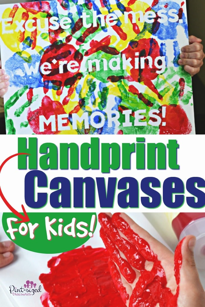 Easy colorful, handprint canvases are perfect for saving those little fingerprints! A perfect craft for preschoolers who love to make handprints! #ad #handprintart #Handprintcanvas #easycraftsforkids #activitiesforkids #handprintcraftsforkids #colorfulcraftsforkids