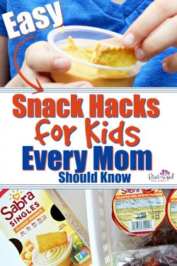 Easy snack hacks for kids every mo should know! Keep kids happy, full and keep your sanity as a mom too! #snackhacks #momhacks #momlife #raisingkids #easysnacks #heallthysnacks
