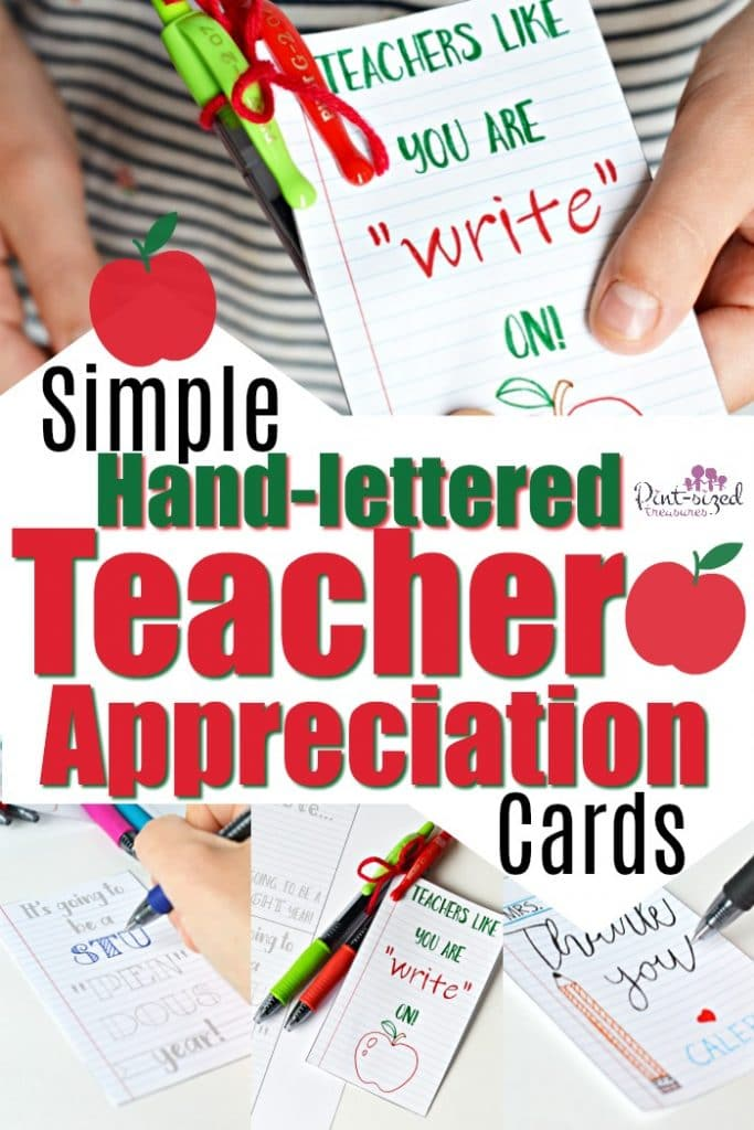 Simple hand-lettered teacher appreciation cards that give kids and parents the opportunity to give a well-deserved THANK YOU to teachers! #teacherappreciation #handmadecards #cardsforteachers #teachershelpteachers #parentingtips #raisingkids #himemadecards #handletteredcards #diycards #kids