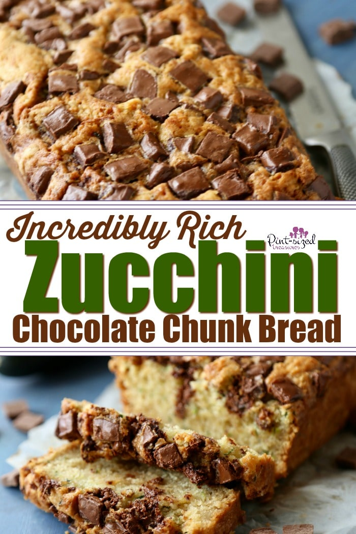Oooh! Super rich, insanely moist, zucchini chocolate chunk bread has TWO massive cups of shredded zucchini! This home baked favorite will definitely be a winner for you zucchini bread loving family! #zucchinibread #chocolatezucchini #chocolatechipzucchini #zucchinidessert #zucchinirecipes #zucchinii