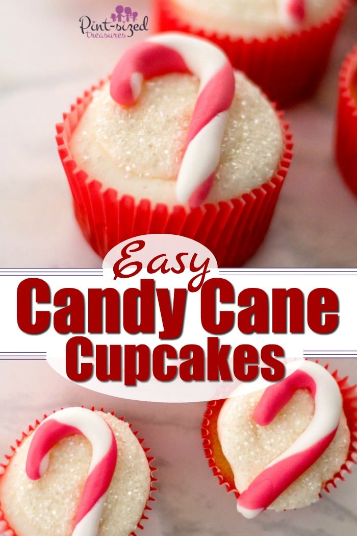 These adorable, candy cane cupcakes are made with fondant and are simple to create for the holidays! #candycanecupcakes #fondant 3fondantcupcakes #easyfondant #easycupcakes #holidaycupcakes #Christmascupcakes