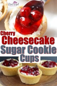 YUM! These cherry cheesecake , custard cookie cups are super easy to make and the perfect blend of sweet and creamy cheesecake topped with a tangy, cherry topping. One of my favorite, go-to, no-bake cheesecake recipes! #nobakecheesecake #easycheesecake #cookiecups #cheesecakerecipe #cherrycheesecakerecipe #cheesecakecookiecups #easydessert